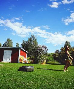 ☀️ NOMINATED ☀️robot lawn mower and young woman, backyard living